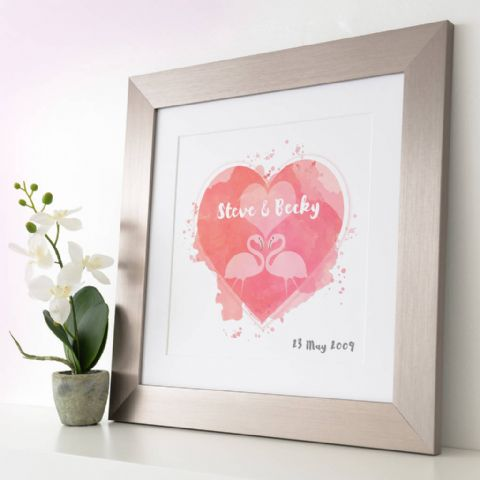 Personalised Flamingos In Love Watercolour Print